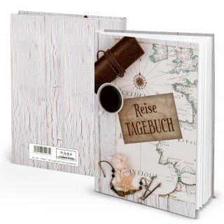 Kleines Reisetagebuch weiß braun Weltkarte DIN A5 SOFTCOVER Globus Erde Welt