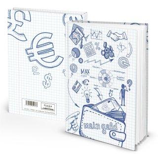 Kleines Haushaltsbuch Notizbuch MEIN GELD DIN A5 blau weiß - Übersicht Einnahmen Ausgaben