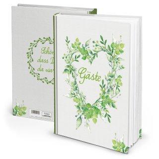 Hochzeitsgästebuch grün weiß DIN A4 -  Gästebuch zur Hochzeit Herz groß Blätter natürlich