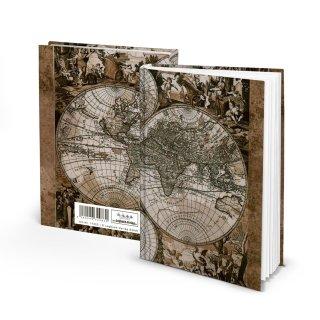 Kleines Notizbuch Tagebuch Reisebuch ALTE WELT DIN A5 Softcover mit Weltkarte-Motiv braun