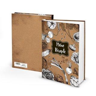 Großes Rezeptbuch braun schwarz weiß mit leeren Seiten DIN A4 - Geschenkbuch Küche