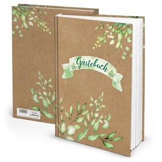 Gästebuch in Kraftpapieroptik mit Blätterranken DIN A4 grün braun mit leeren Seiten