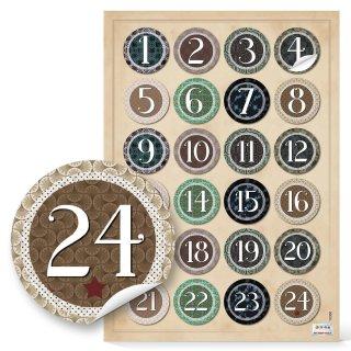 Adventskalenderzahlen Aufkleber rund 4 cm mit Zahlen 1 - 24 - Vintage grün braun