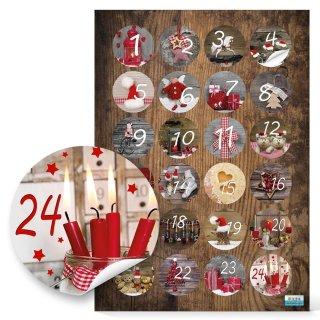 Adventskalenderzahlen Aufkleber 1 - 24 mit weihnachtlichen Fotomotiven - braun rot