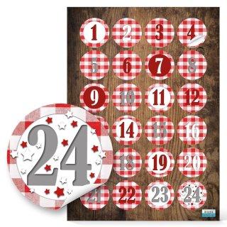 Adventskalenderzahlen Aufkleber rund 4 cm rot weiß kariert mit Zahlen 1 - 24