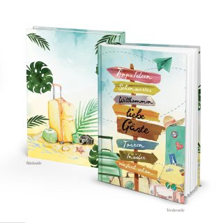Gästebuch mit leeren Seiten DIN A4 Hardcover für Gäste - Ferienwohnung Ferienhaus Urlaub bunt