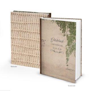 Leeres Gästebuch DIN A4 Vintage für Hochzeit Pension Hotel Ferienhaus - beige grün