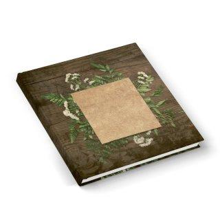 Gästebuch Notizbuch quadratisch 21 x 21 cm mit Cover zum Beschriften - leeres Buch in Holzoptik
