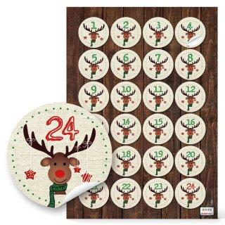 24 Adventskalenderzahlen Aufkleber 1 - 24 mit Rentier-Motiv beige braun