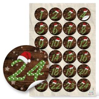 24 Adventskalenderzahlen Aufkleber 1 - 24 rustikale Holzoptik beige braun