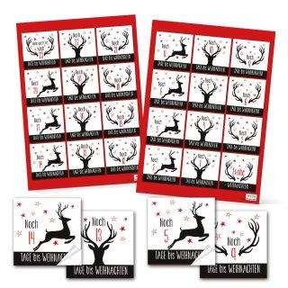 24 Zahlenaufkleber für den DIY Adventskalender 6 x 6 cm schwarz weiß rot mit Hirsch-Motiv