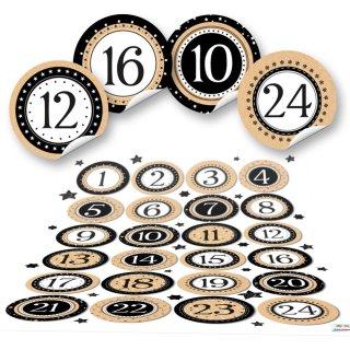 Adventskalenderzahlen Aufkleber 1 - 24 zum Basteln - 4 cm, rund - schwarz weiß gold