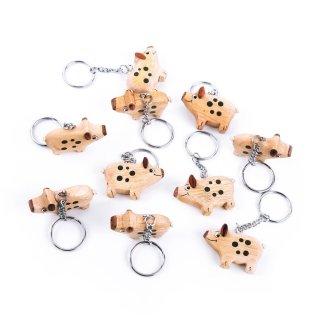 10 Glücksschwein Schlüsselanhänger aus Holz braun schwarz - Glücksbringer Mini Geschenk