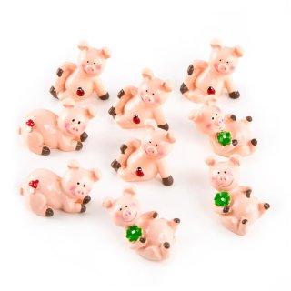 9 kleine Glücksschweinchen rosa mit Kleeblatt kleines Geschenk Glücksbringer Talisman