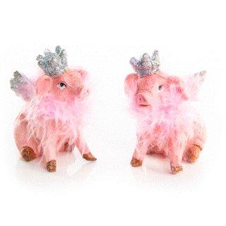 2 Glücksschweine Figuren Glücksschweinchen rosa mit Krone Engelsflügel Silber Glücksbringer Deko
