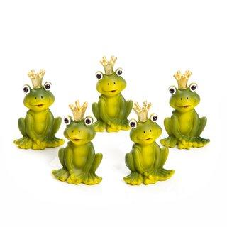 5 kleine grüne Frösche Froschkönige mit goldener Krone - Froschfigur Tischdeko Mitgebsel