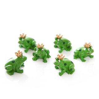 6 kleine Mini Frösche 3 cm gün - Froschkönig mit goldener Krone als Tischdeko Geschenk Glücksbringer