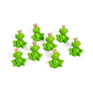 8 Stück kleine grüne Froschkönig Frosch Figuren 3 cm Miniaturen mit Krone - Gastgeschenke Mitgebsel