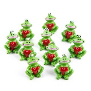 10 Stück kleine Mini Frosch Glücksbringer 2,7 cm grün mit Herz rot Deko Figur Miniatur