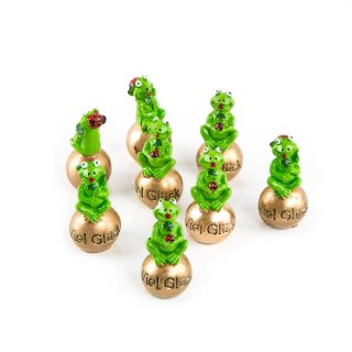 8 kleine Frösche 5 cm auf Goldener Kugel VIEL GLÜCK Froschkönig Glücksbringer