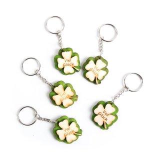 5 kleine Schlüsselanhänger Kleeblätter aus Holz mit VIEL GLÜCK - Glücksbringer als Geschenk