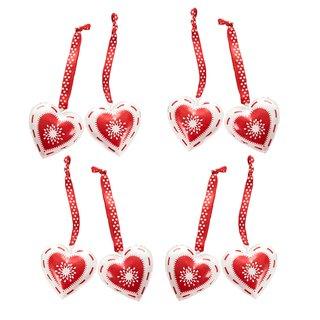 8 kleine Herzanhänger rot weiß aus Metall - Geschenkanhänger Deko