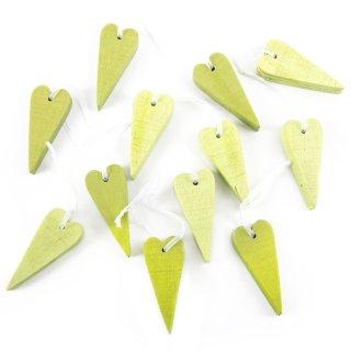 Kleine Herzen zum Aufhängen aus Holz 7 cm in hellgrün grün gelb - 12 Stück
