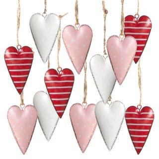 Herzanhänger aus Metall rot weiß rosa gepunktet & gestreift - 12 Stück