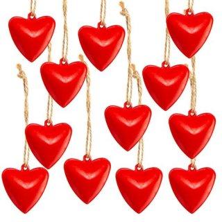 12 Stück kleine rote Herzen mit Schnur zum Aufhängen 3,5 cm - Herzanhänger aus Metall