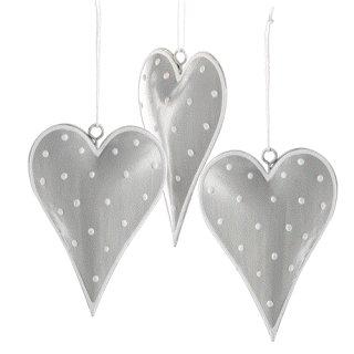 3 Herzanhänger 10 cm grau silber weiß gepunktet Deko Herzen aus Metall zum Aufhängen