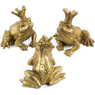 3 goldene Frösche Froschkönig Figuren sitzend zum Hinstellen - kleines Geschenk Mitgebsel Deko