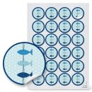 Aufkleber Set 24 x Schön, dass du da bist + 24 Fische - maritime Sticker blau weiß