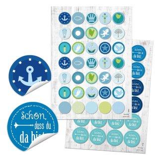 Aufkleber Set 24 Schön, dass du da bist + 35 Sticker mit maritimen Motiven blau türkis  - Taufe Kommunion