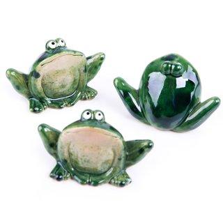 3 Frösche grün dunkelgrün aus Porzellan stehend - Glücksbringer Glücksfrosch Krafttier Symbo