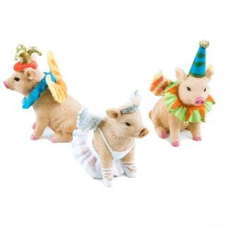3 lustige Schweine - bunte Glücksschweinchen 8 cm Zirkus Clown Engel Ballerina Figuren