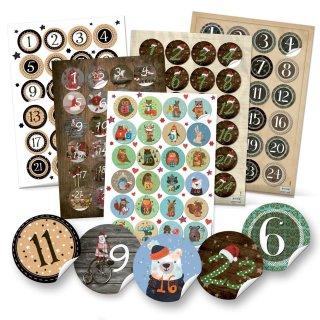 5 x 24 Adventskalenderzahlen Aufkleber - Set zum Basteln von 5 DY Adventskalendern - verschiedene Motive