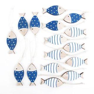 Fischanhänger mit Band in 7 cm weiß blau natur - 16 Stück zum Aufhängen