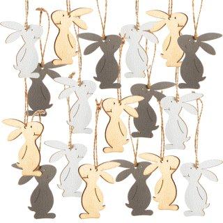 18 kleine Osterhasen aus Holz 6,5 cm grau braun beige - Osterdeko zum Aufhängen