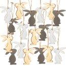 18 kleine Osterhasen aus Holz 6,5 cm grau braun beige -...