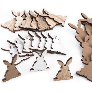 24 Osterhasen Streuteile 6,5 cm aus Holz - Osterdeko zum Streuen als Tischdeko & Bastelzubehör