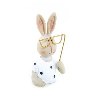 Osterhasen Figur zum Hinstellen 11 cm mit Brille - Hase als Deko oder Ostergeschenk