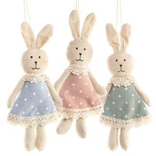 3 Osterhasen aus Stoff 17 cm mit Kleid in rosa, blau und grün