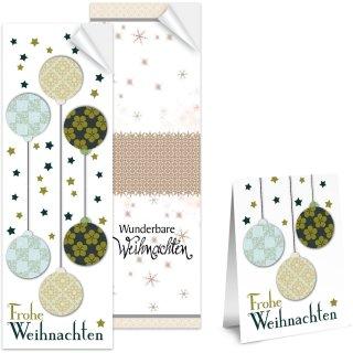 SET - 2 x 25 lange Weihnachtsaufkleber mit verschiedenen Designs in 5 x 14,8 cm