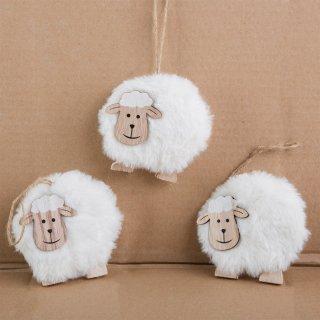 3 weiße Schafe zum Aufhängen - Schafe als Osterdeko Anhänger