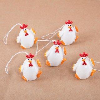 5 Küken Anhänger rot weiß orange - Hühneranhänger als Osterdekoration