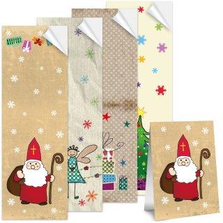 Weihnachtsaufkleber SET 4 x 25 lange Aufkleber 5 x 14,8 cm - Geschenkaufkleber Weihnachten
