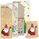 Weihnachtsaufkleber SET 4 x 25 lange Aufkleber 5 x 14,8...