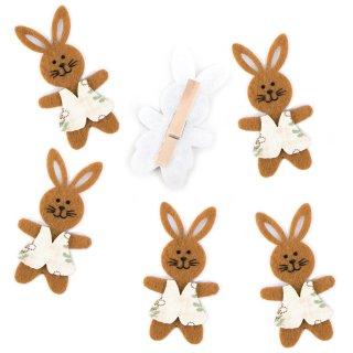 6 Osterhasen Dekoklammern 7,5 cm braun beige - Zierklammern Ostern für Ostergeschenke