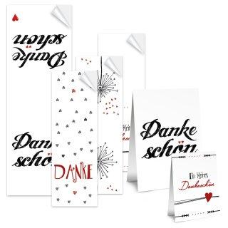 Aufkleber Set - 4 x 10 Stück - verschiedene Designs wie Dankeschön, Herzen