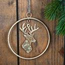 3 goldene Hirschanhänger aus Metall - Ring mit Hirsch Rentier 10 cm - Weihnachtsdeko